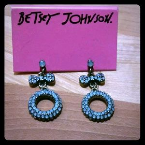 Betsey Johnson Mint Pave Bow Drop Earrings